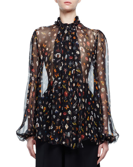Alexander McQueen Obsession-Print Scarf-Collar Blouse, Black/Mix