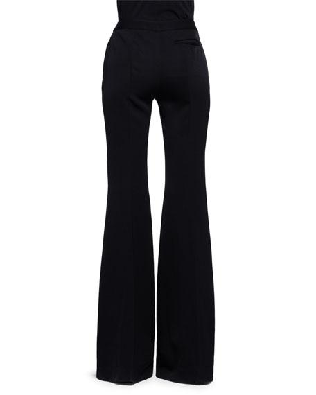 High-Waist Flare-Leg Pants, Black