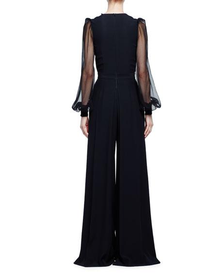 Sheer-Sleeve Wide-Leg Crepe Jumpsuit, Black