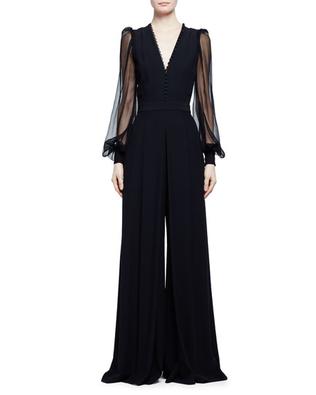 Alexander McQueen Sheer-Sleeve Wide-Leg Crepe Jumpsuit, Black