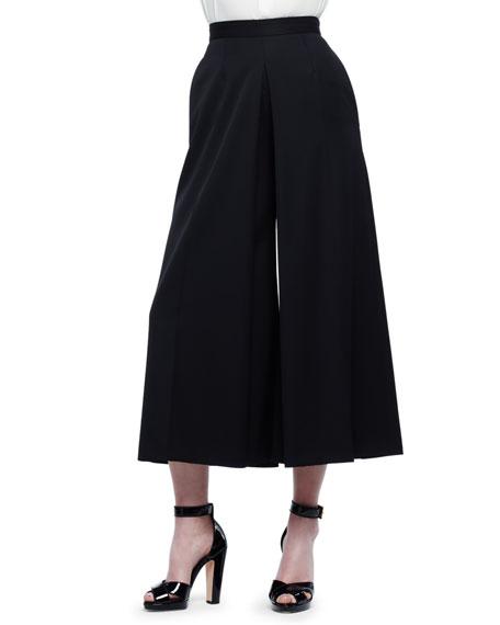 Alexander McQueen High-Waist Wide-Leg Culotte Pants, Black