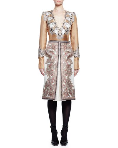 Long-Sleeve V-Neck Printed Dress, Beige