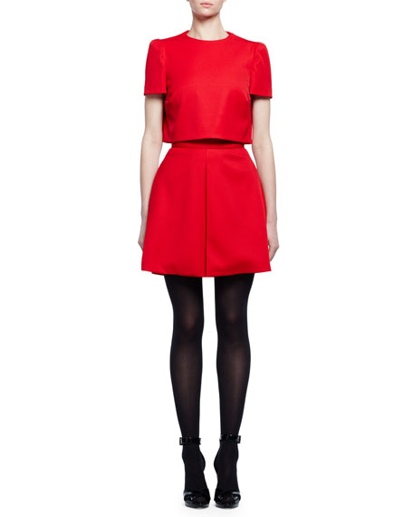 Alexander McQueen Short-Sleeve Popover Mini Dress, Flame