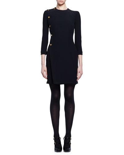 3/4-Sleeve Golden-Button Dress, Black