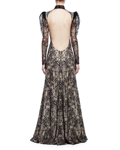 Long-Sleeve Open-Back Lace Gown, Black/Flesh