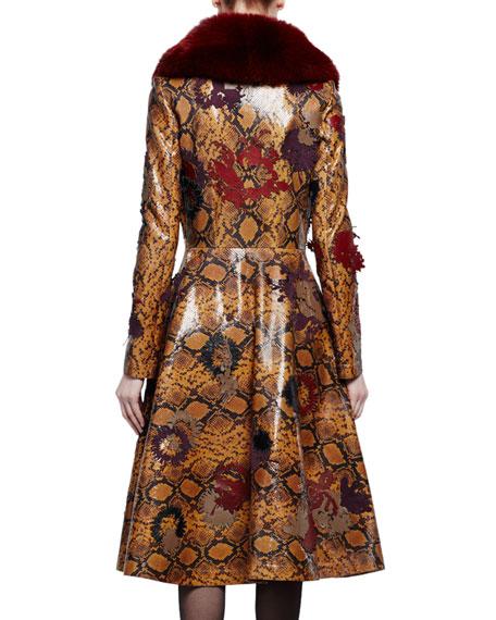 Fur-Collar Python-Embossed Leather Coat, Tobacco/Multi/Ginger