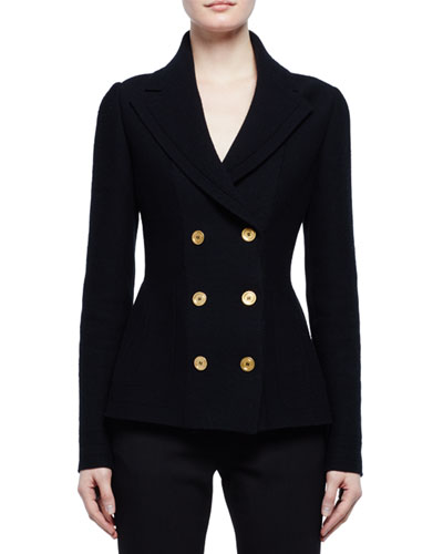 Double-Breasted Sweater Jacket, Black