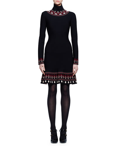 Long-Sleeve Geometric-Print Dress, Black/Nude/Bordeaux