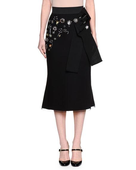 Dolce & Gabbana High-Waist Embellished Skirt, Black