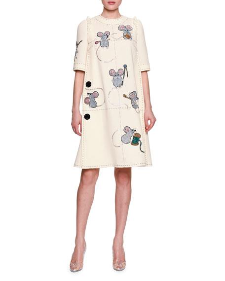 Dolce & Gabbana Mice Sewing Short-Sleeve Dress, White