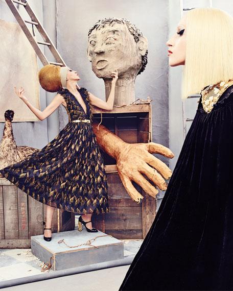 Metallic-Chevron Midi Dress W/Fringe, Gold/Black