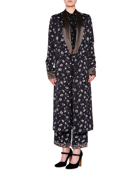 Embellished Reversible Robe-Coat, Black/Multi