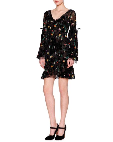 Etro Bell-Sleeve V-Neck Floral-Print Dress, Black/Multi