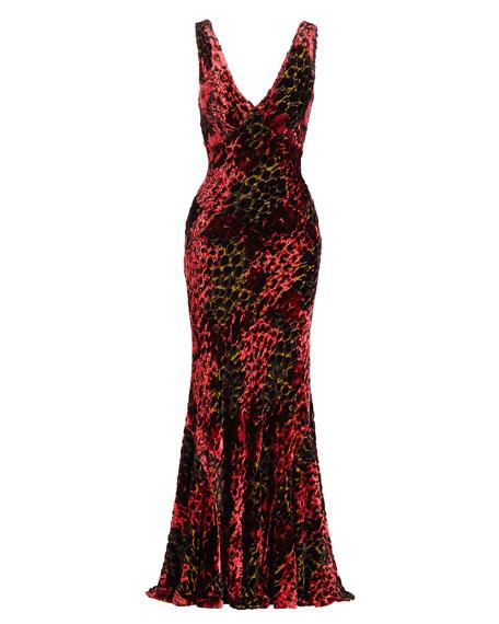 Sleeveless Velvet Devore Gown, Red/Multi
