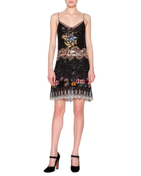 Etro Embellished Silk Slip Dress, Black/Multi