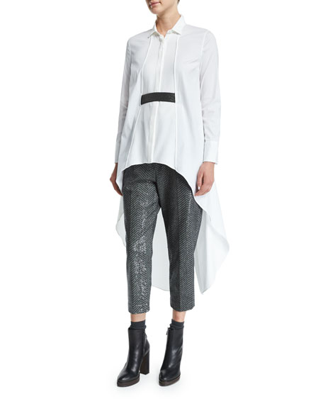 Brunello Cucinelli High-Low Tunic W/Monili Belt, White/Ultra