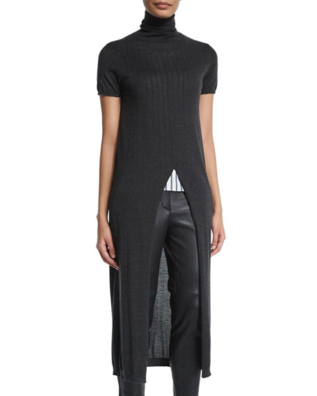 Brunello Cucinelli Short-Sleeve Turtleneck Front-Slit Tunic,