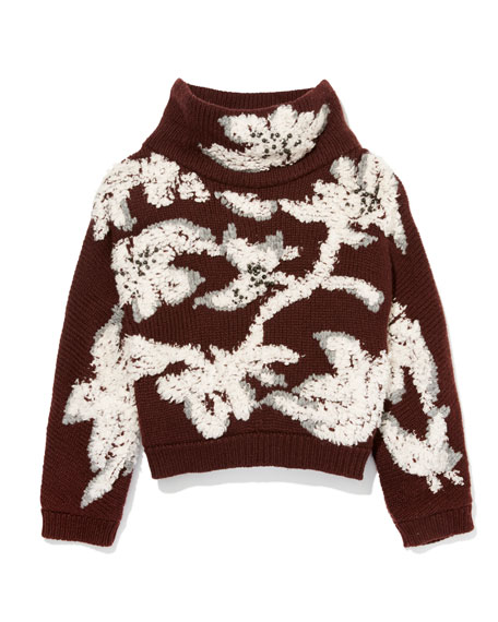 Floral-Embroidered Cropped Cashmere Sweater, Bordeaux/Vanilla