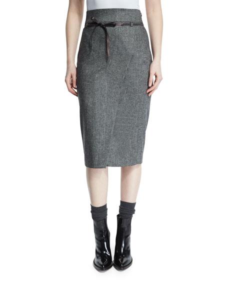 Brunello Cucinelli High-Waist Belted Pencil Skirt, Onyx