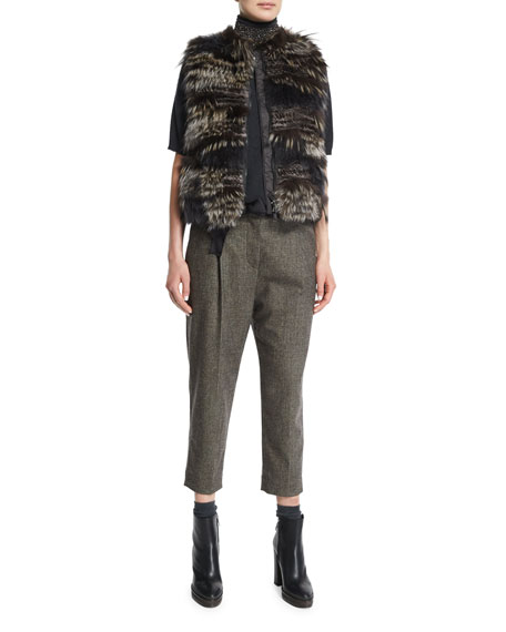 Pleated-Front Belted Cropped Pants, Bark
