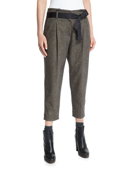 Brunello Cucinelli Pleated-Front Belted Cropped Pants, Bark
