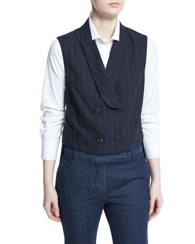 Double-Breasted Monili-Pinstripe Vest, Navy