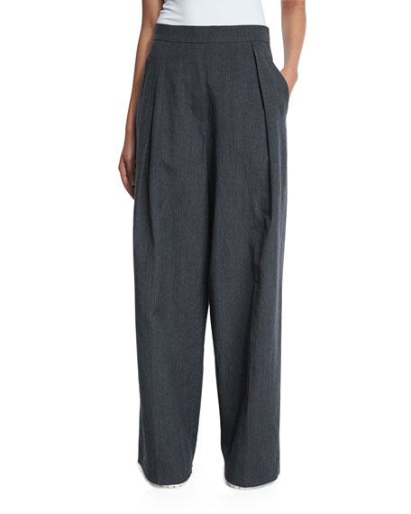 Brunello Cucinelli Pleated-Front Ultra Wide-Leg Pants, Dark Gray