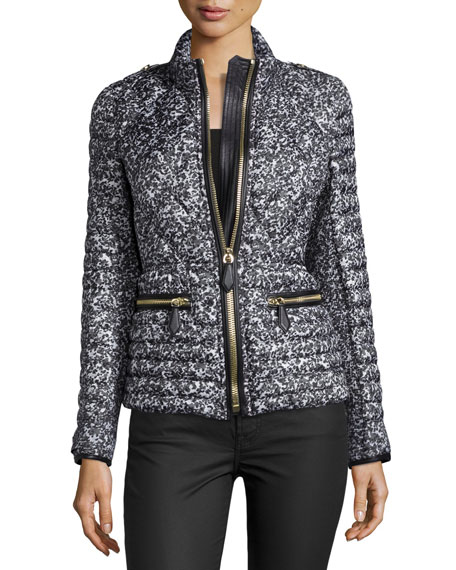Zip-Front Quilted Puffer Jacket, Mid Gray