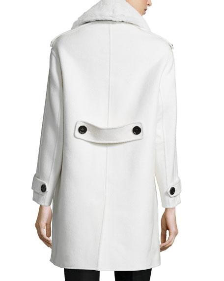Fur-Collar Cashmere Duffle Coat, White