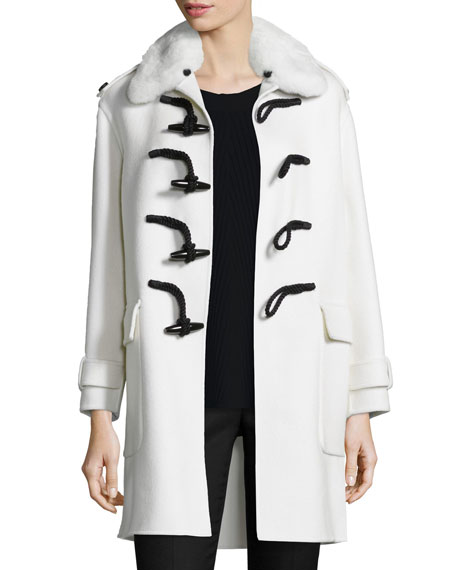 Burberry London Fur-Collar Cashmere Duffle Coat, White