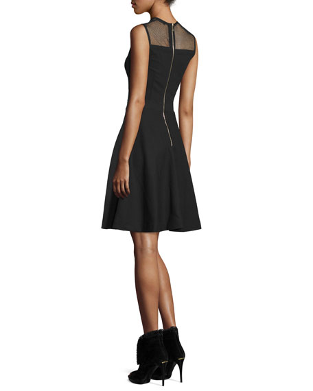 Mesh-Yoke Fit-&-Flare Dress, Black