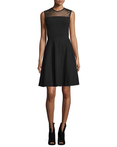 Mesh-Yoke Fit-&-Flare Dress  Black