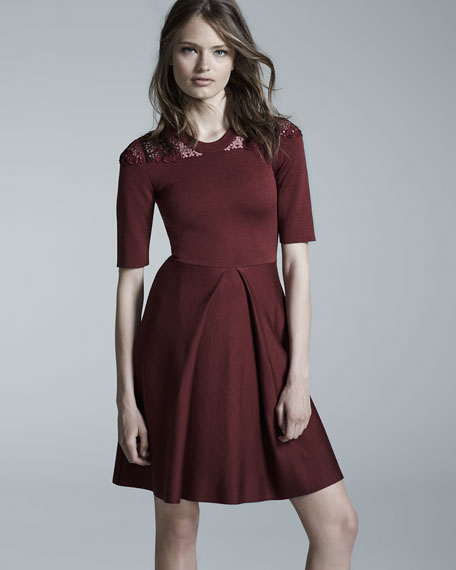 Macrame-Yoke Half-Sleeve Dress, Carmine Red