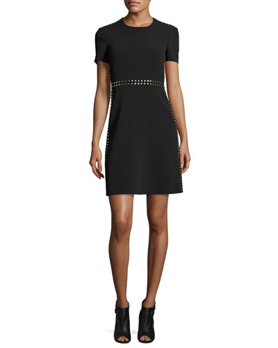 Studded A-Line Short-Sleeve Dress, Black