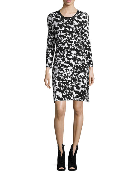 Burberry Long-Sleeve Two-Tone Sheath Dress, Natural White/Black
