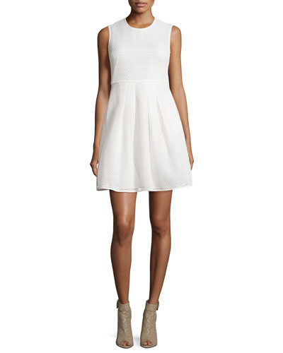 Sculpted Mesh Fit-&-Flare Dress, White