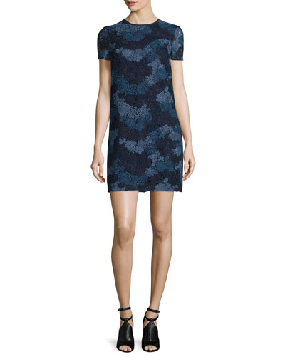 Short-Sleeve Macrame Shift Dress, Ink Blue