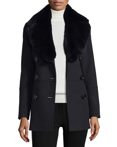 Burberry London Marfield Wool-Blend Coat w/Detachable Fur Collar,