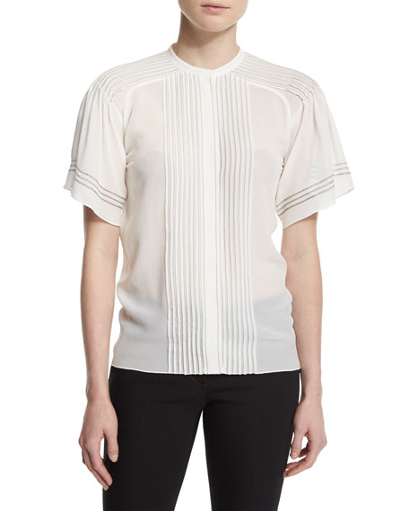 Burberry Short-Sleeve Pleated Silk Blouse, White