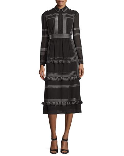 Striped Long-Sleeve Midi Dress, Black