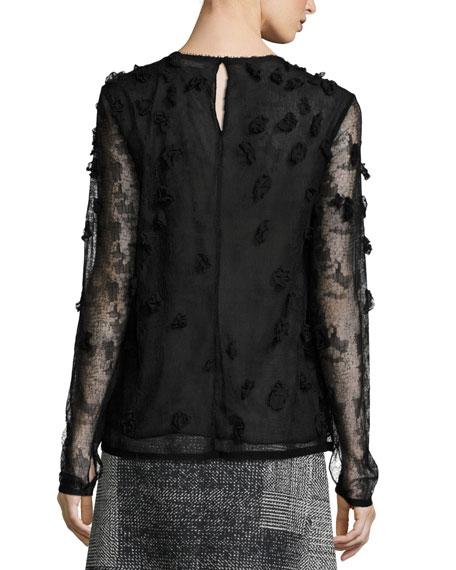 Embellished Crewneck Long-Sleeve Blouse, Black