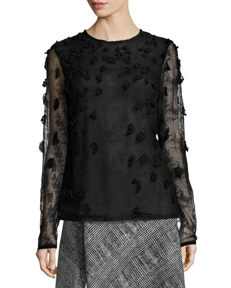 Embellished Crewneck Long-Sleeve Blouse, Black