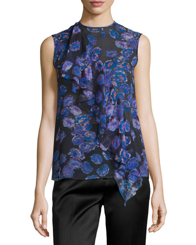 Sleeveless Ruffled Floral-Print Top, Black/Iris