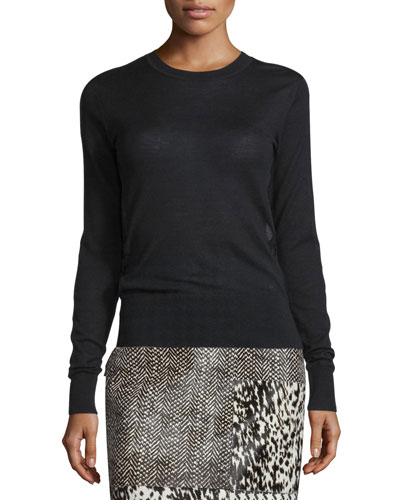 Lace-Inset Long-Sleeve Luxury Pullover, Black