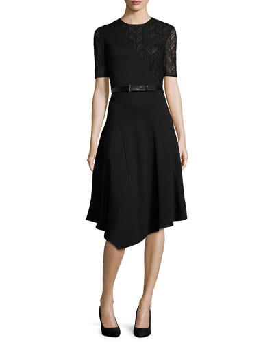 Short-Sleeve Drape-Front Dress, Black