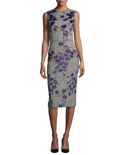 Sleeveless Floral-Embroidered Tweed Sheath Dress, Black/Iris