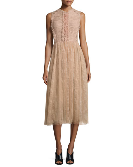 Jason Wu Sleeveless Abstract Lace Dress, Fawn