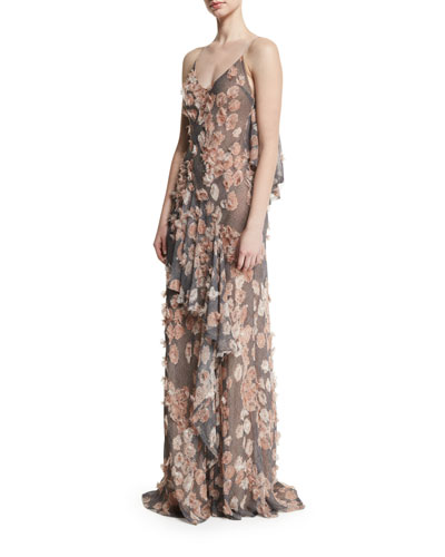 Plaid Chiffon Gown w/Floral Appliques, Fawn/Multi