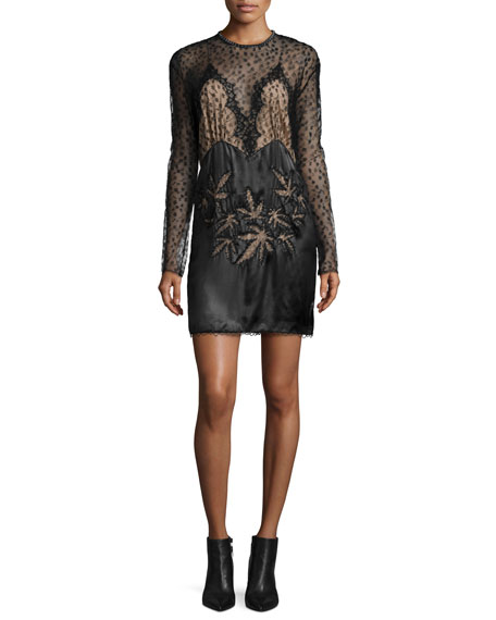 Alexander Wang Lace-Inset Long-Sleeve Dress, Black