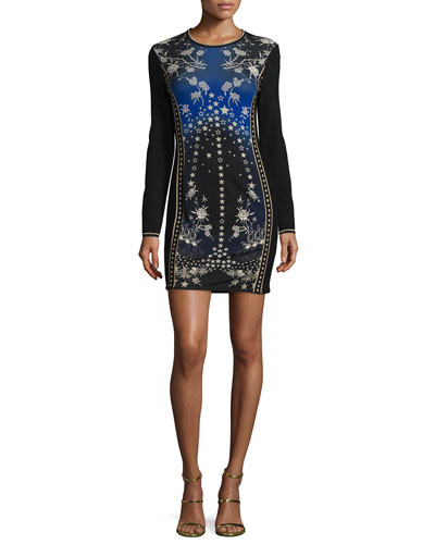 Star-Print Long-Sleeve Knit Dress, Blue/Multi